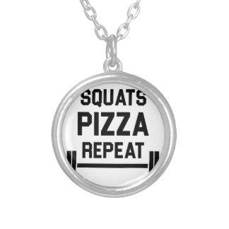 De Pizza van de hurkzit herhaalt Zilver Vergulden Ketting