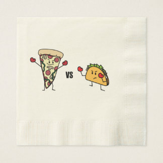 De Pizza van pepperonis VERSUS Taco: Mexicaan Papieren Servet