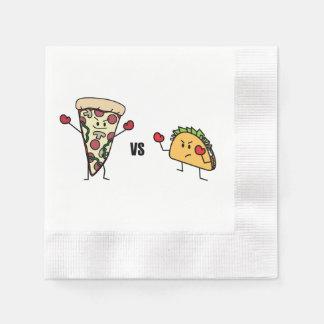 De Pizza van pepperonis VERSUS Taco: Mexicaan Wegwerp Servet