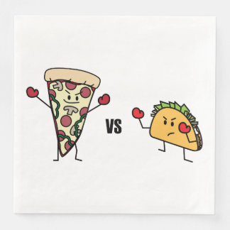 De Pizza van pepperonis VERSUS Taco: Mexicaan Wegwerp Servetten