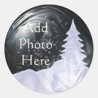 De Plaatsing van de Foto van het Wereldbol van de Ronde Sticker