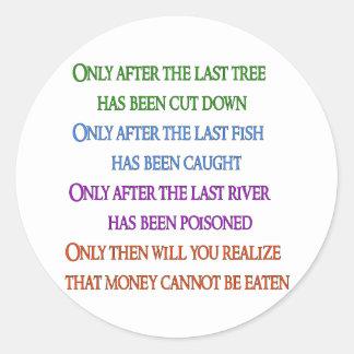 De planeet betreurt ronde stickers