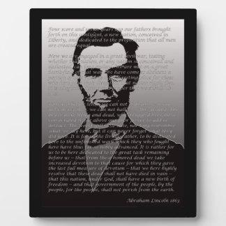 De Plaque van het Adres Abraham Lincoln & Gettysbu Fotoplaat