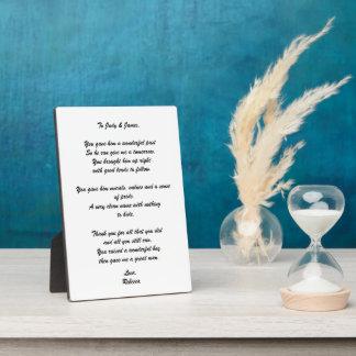 """De Plaque van het Gedicht """"aan van de Bruidegom Fotoplaat"""