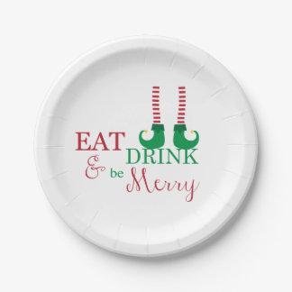 De Platen van de Partij van Kerstmis eten, drink, Papieren Bordjes