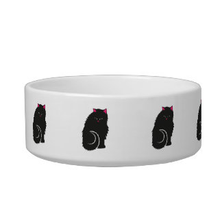 De pluizige Zwarte Leuke Katten van het Kat Voerbakje