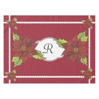 De Poinsettia van het monogram op het Rode Tafelkleed