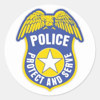 De politie beschermt en dient Kenteken Ronde Sticker