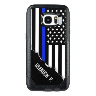 De politie stileerde Amerikaanse Vlag Aangepaste OtterBox Samsung Galaxy S7 Edge Hoesje