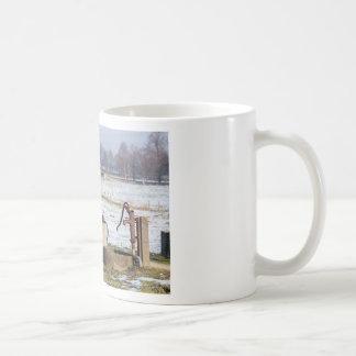 De pomp van het water en goed in het landschap van koffiemok