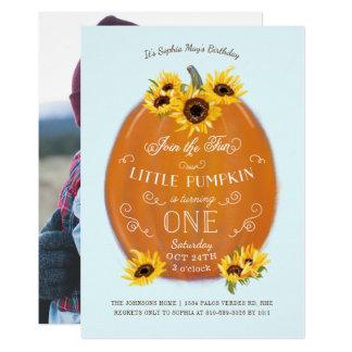 De Pompoen van de herfst en de Eerste Verjaardag 12,7x17,8 Uitnodiging Kaart