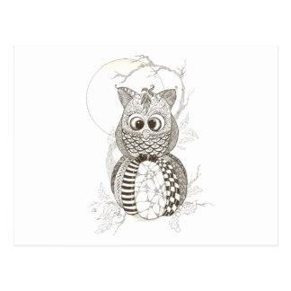 De Pompoen Zentangle Halloween van de uil Wens Kaart