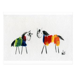 De Poneys van weinig Regenboog Briefkaart