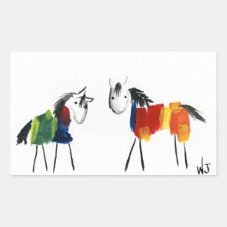 De Poneys van weinig Regenboog Rechthoekige Sticker