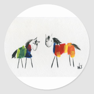 De Poneys van weinig Regenboog Ronde Sticker