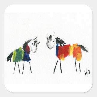 De Poneys van weinig Regenboog Vierkante Sticker
