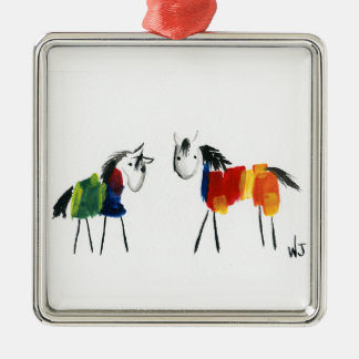 De Poneys van weinig Regenboog Zilverkleurig Vierkant Ornament