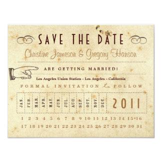 De ponskaart bewaart de Datum - Vintage Kleuren 10,8x13,9 Uitnodiging Kaart