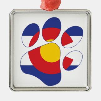 De Poot van het Huisdier van Colorado Zilverkleurig Vierkant Ornament