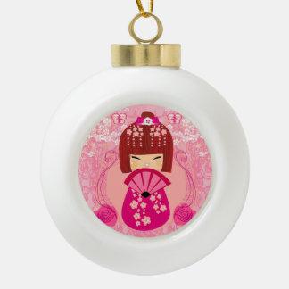 De poppenDecoratie van Kokeshi Keramische Bal Ornament