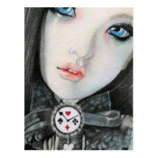 De poppengezicht van de klok fantasyPostcard Briefkaart