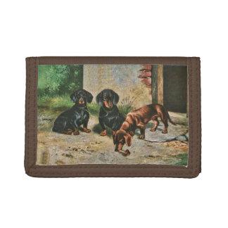 De portefeuille van het Puppy van de tekkel Drievoud Portemonnee