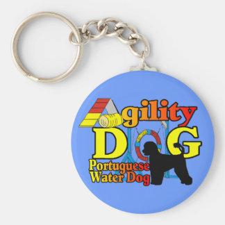 De Portugese Behendigheid van de Hond van het Wate Basic Ronde Button Sleutelhanger