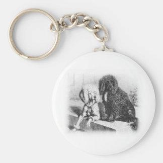 De Portugese Hond van het Water Basic Ronde Button Sleutelhanger
