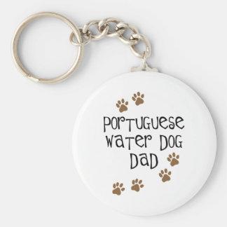 De Portugese Papa van de Hond van het Water Basic Ronde Button Sleutelhanger
