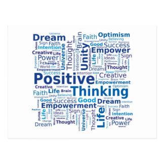 De positieve het Denken Wolk van Word - Blauwe Briefkaart