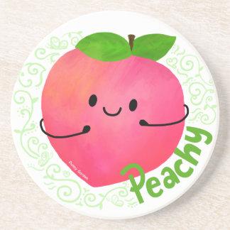De positieve Peachy Woordspeling van de Perzik - Zandsteen Onderzetter