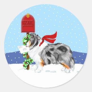De Post Blauwe Merle van Kerstmis van Sheltie Ronde Sticker