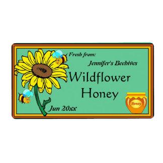 De Pot van de zonnebloem en van de Honing Etiket