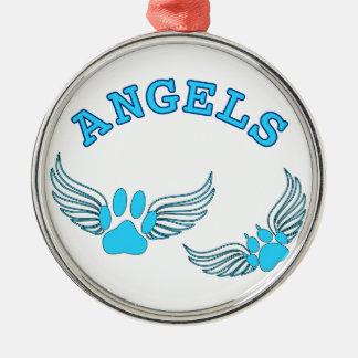 De Poten van het Huisdier van de engel in Blauw Zilverkleurig Rond Ornament