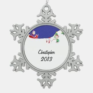 De Pret van de winter Tin Sneeuwvlok Ornament