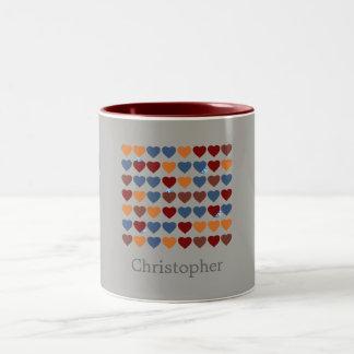 De Pret van Pasen van harten Tweekleurige Koffiemok