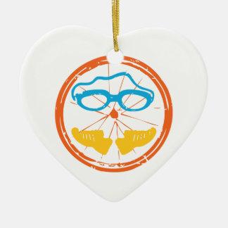 De pretontwerp van Triathlon Keramisch Hart Ornament