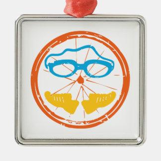 De pretontwerp van Triathlon Zilverkleurig Vierkant Ornament