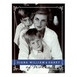 De prinses Diana van Wales zal en Harry Briefkaart