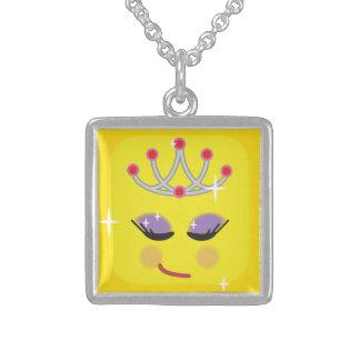 De Prinses Emoticon van Sparkly Sterling Zilver Ketting