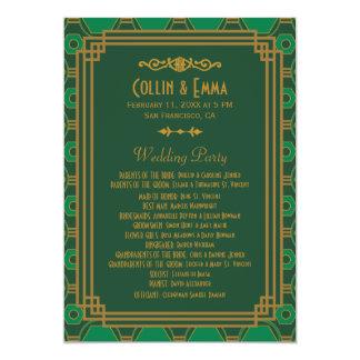 De Programma's van het Huwelijk van het art deco 12,7x17,8 Uitnodiging Kaart