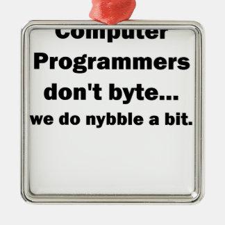 De Programmeurs van de computer niet byte.png Zilverkleurig Vierkant Ornament