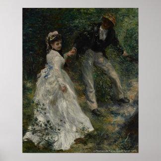 De Promenade van La, Pierre-Augustus Renoir 1870 Poster