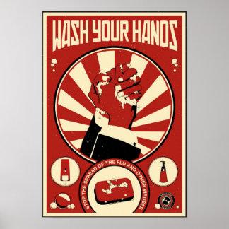 De Propaganda van het kantoor: Was uw handen Poster