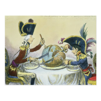 De pudding van de Pruim in Gevaar, 1805 Briefkaart