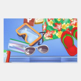 De punten van de koffer en van de vakantie rechthoekige sticker
