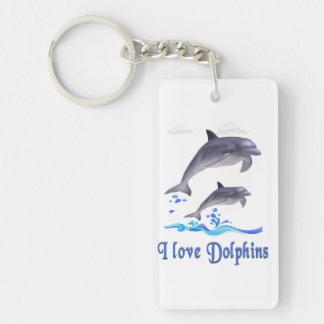 De punten van dolfijnen 1-Zijde rechthoekige acryl sleutelhanger