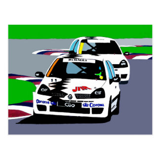De Raceauto's van Renault Clio Briefkaart