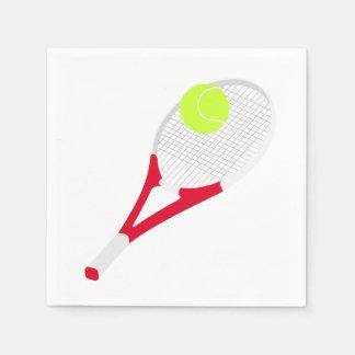 De racket van het tennis en tennisbal wegwerp servetten