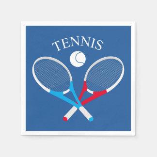 De rackets van het tennis en tennisbal papieren servet